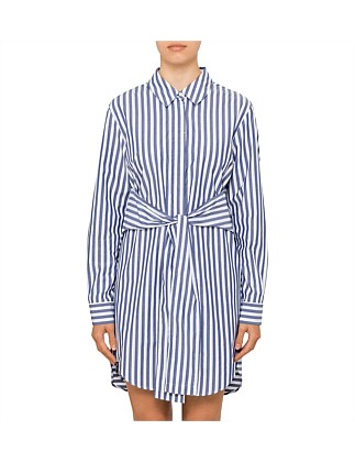 Longsleeve Tie Front Collared Dress