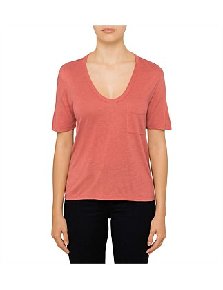 Cropped Tee With Chest Pocket