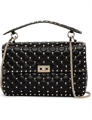 NAPPA LEATHER ROCKSTUD SPIKE LARGE SHOULDER BAG