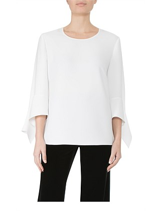 Fluted Sleeves Crepe Top Ej06730