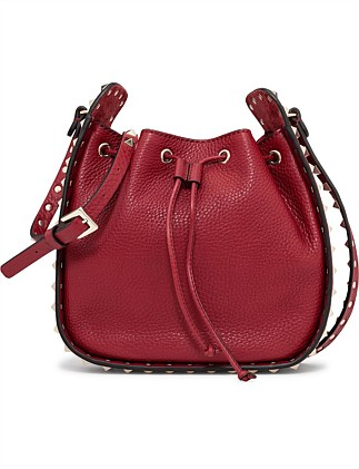 Vitello Stampa Alce Rockstud Bucket Bag