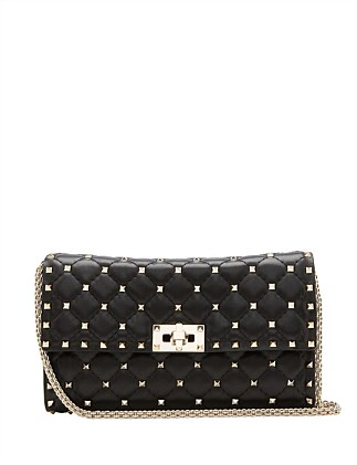 NAPPA LEATHER ROCKSTUD SPIKE SHOULDER BAG