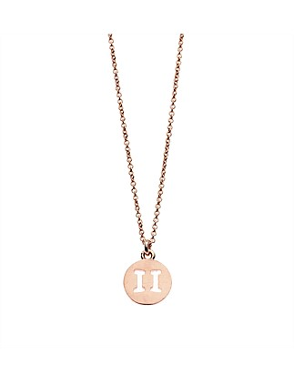 Gemini Necklace In Rose Gold Plated Brass