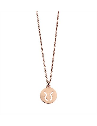Taurus Necklace In Rose Gold Plated Brass