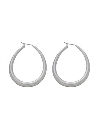 Thick Oval Hoop Earring