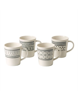 Ed Grey Accents Mug Set Of 4