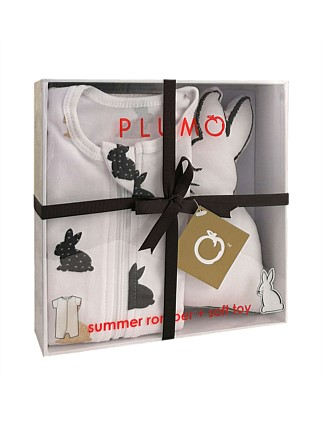 Plum 2 Piece Gift Set With Romper & Soft Toy