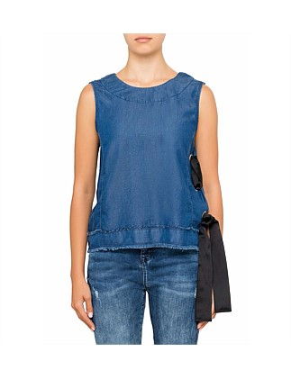Denim Lace Up Shell Top