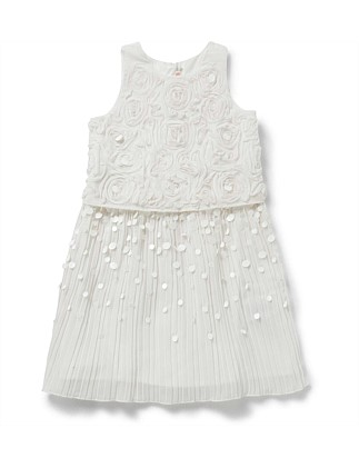 Girls Crepe Pleated Sequin Dress