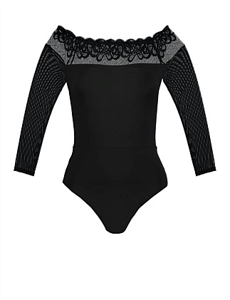 Magic Long Sleeve Wavy Lace Bodysuit