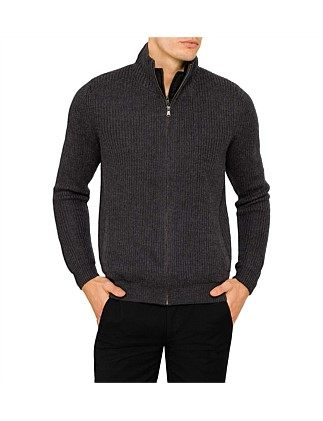 WOOL PANEL ZIP CARDIGAN