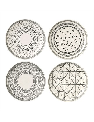 Ed Grey Accents 16cm Plate Set Of 4