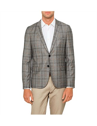 2B SB CV WOOL PLAID CHECK DECO JACKET