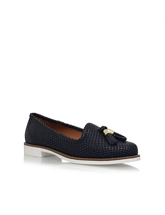 Match Navy Flat Loafer Shoes