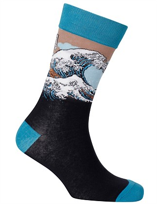 The Great Wave Art Sock