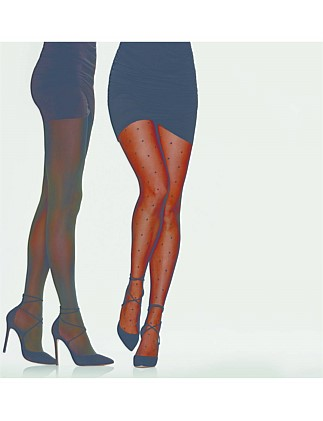Day to Night Spot and Opaque Tights Two Pack