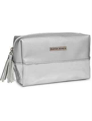 David Jones Duo Silver Cosmetic Bag