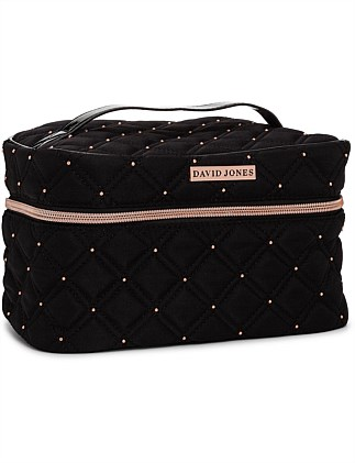 David Jones Hold All Cosmetic Bag Quilted Rose Gold