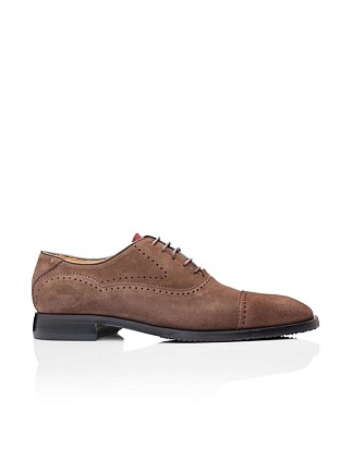 Suede oxford w/ brogue detail
