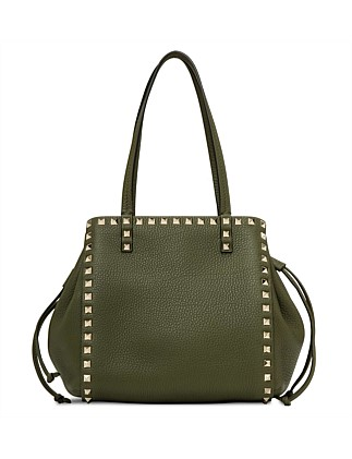 Rockstud Leather Small Double Handle Tote