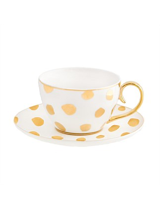 Teacup & Saucer Polka D'or