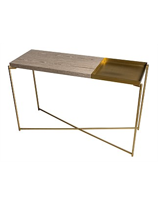 Iris' Brass Console Table with tray