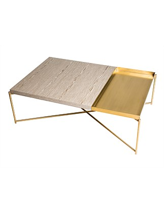 Iris' Brass Coffee Table with tray