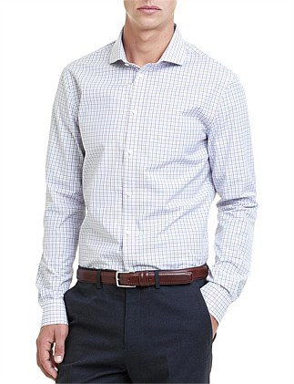 Slim Long Sleeve Mini Shadow Check Shirt ...