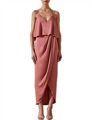 Draped Cocktail Frill Dress Rose