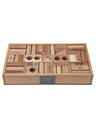 Wooden Story Peace & Love Blocks, 108 pcs