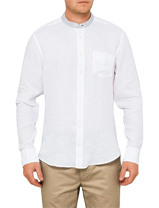 LINEN TEXTURED PLAIN CONTRAST BAND COLLAR SHIRT