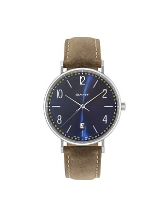 DETROIT Watch - Blue Dial, Toffee Strap