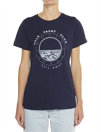 CREW NECK  CUT LOOSE FITTING TEE WITH PORTHOLE LOGO