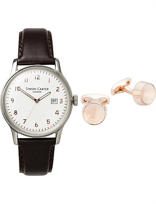 White watch with rose gold numerals and rose gold cufflinks