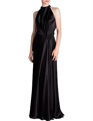 BLACK SILK SATIN ISABELLA GOWN