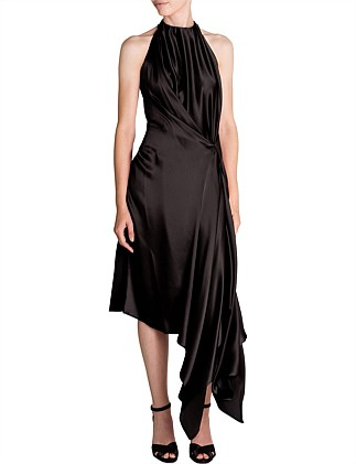 BLACK SILK SATIN ISABELLA DRESS