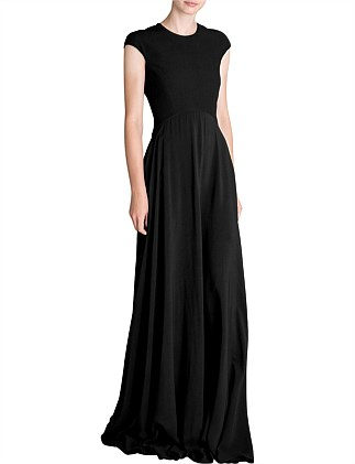 BLACK CREPE ARTEMIS DRESS