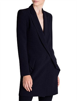 NAVY CREPE MARLENE SHORT COAT
