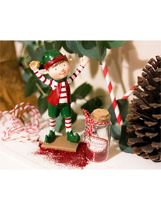 CHRISTMAS ELF FIGURINE WITH WISH JAR ASSORTED