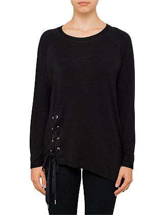 Asymmetric Lace Up Top