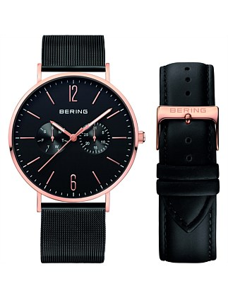 Gents rose, 2 bands - black leather, black mesh
