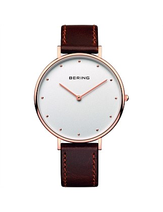 Gents rose, white dial, brown leather band