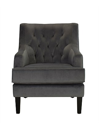 'Alicia' Chair - Velvet Charcoal Fabric