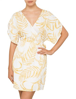 Golden Palm Kimono Wrap Dress
