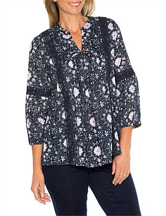 3/4 Sleeve Printed Lace Trim Shirt