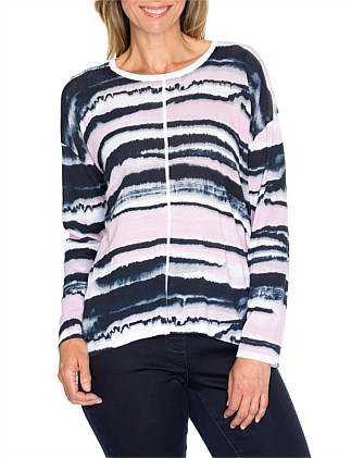 Water Print Knit Top