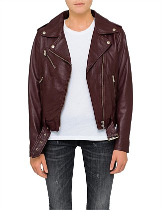 TAMMY LEATHER JACKET WITH LACE UP DETAIL