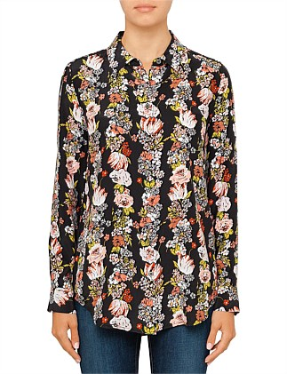 BOTANICAL GARLAND PRINTED REVERSE SATIN SHIRT