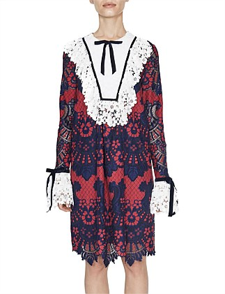 Amour Dress in ~navy/red lace