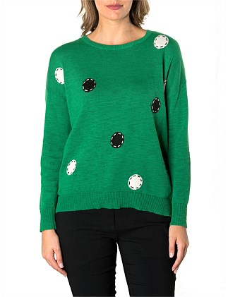 Long Sleeve Spot On Relaxed Sweater